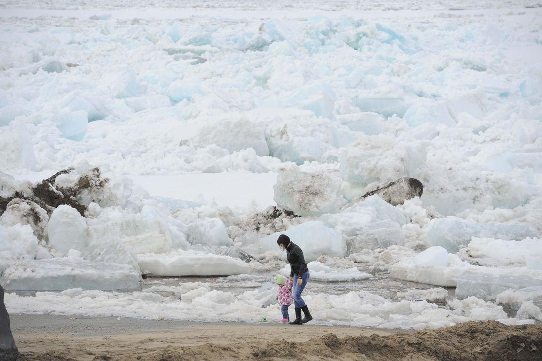 Кромка льда на реке Енисей находится в 1 170 км от Дудинки