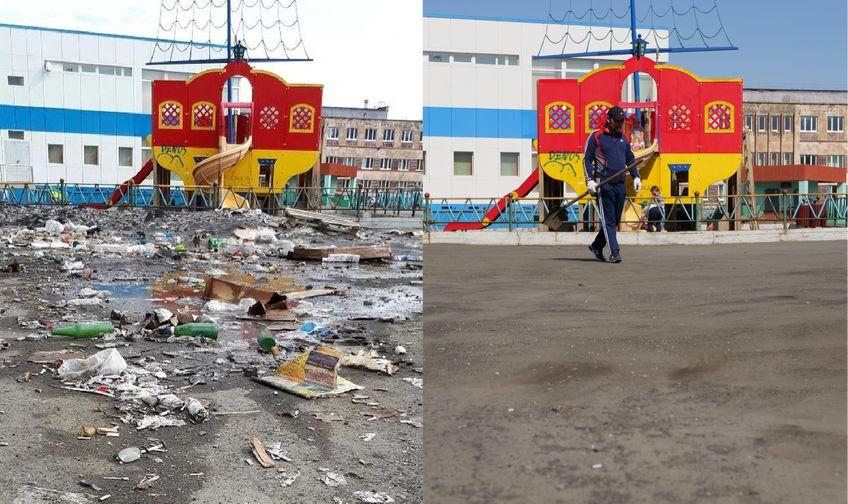 """""""Отмороженные"""" привели в порядок территорию возле детской площадки на Молодежном проезде"""