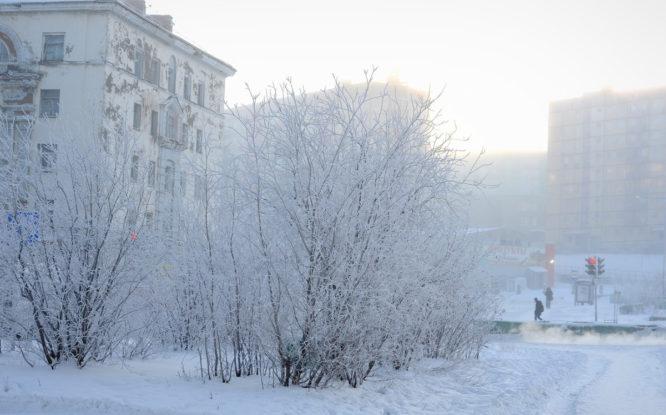 В Норильске объявлено штормовое предупреждение по сильному морозу